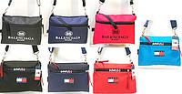 Молодёжные сумки-барсетки на плечо BALENCIAGA,Tommy Hilfiger из текстиля (4 цета)22*32см