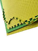 Коврик-пазл EVA,  татамі ластівчин хвіст,  жовто-зелений, т. 20 мм, розмір 100х100 см, щільність 80 кг/м3