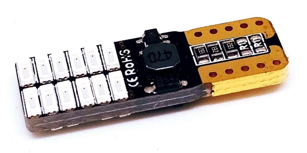 LED автолампа лед диодная T10 W5W, 24SMD 4014, 12-24В, 5Вт, CANBUS, Красный