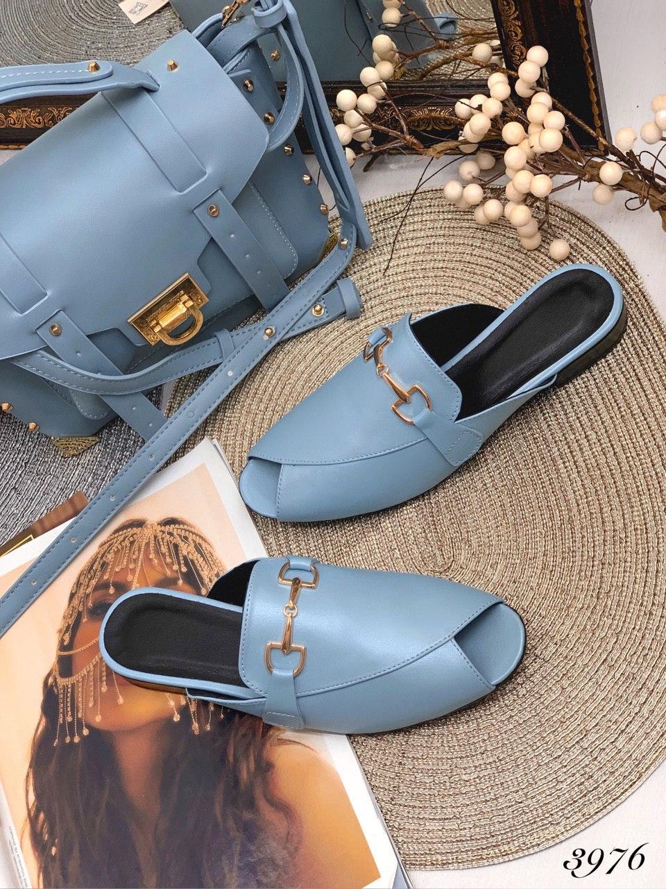 Мюли-тюльпан з відкритим носком блакитна шкіра В наявності та під замовлення