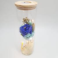 Роза в колбе Ukc с LED подсветкой 26 см Синяя VD171702392, КОД: 1629135