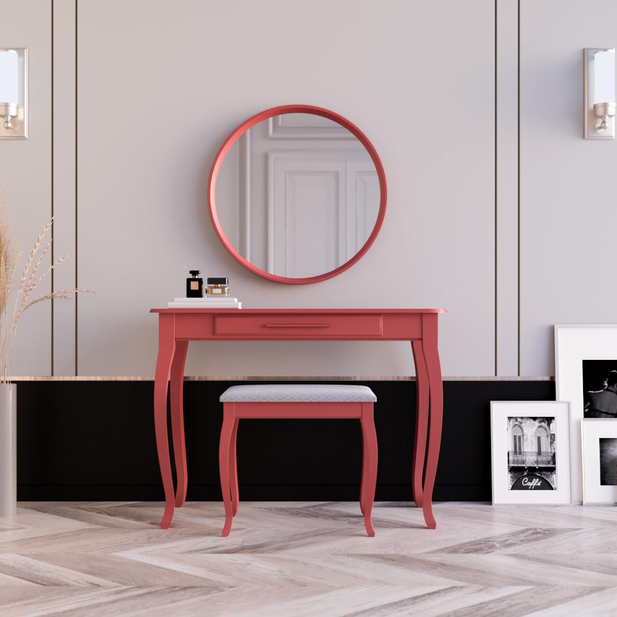 """Туалетний столик з дзеркалом та банкеткою """"Болонія Червона"""""""