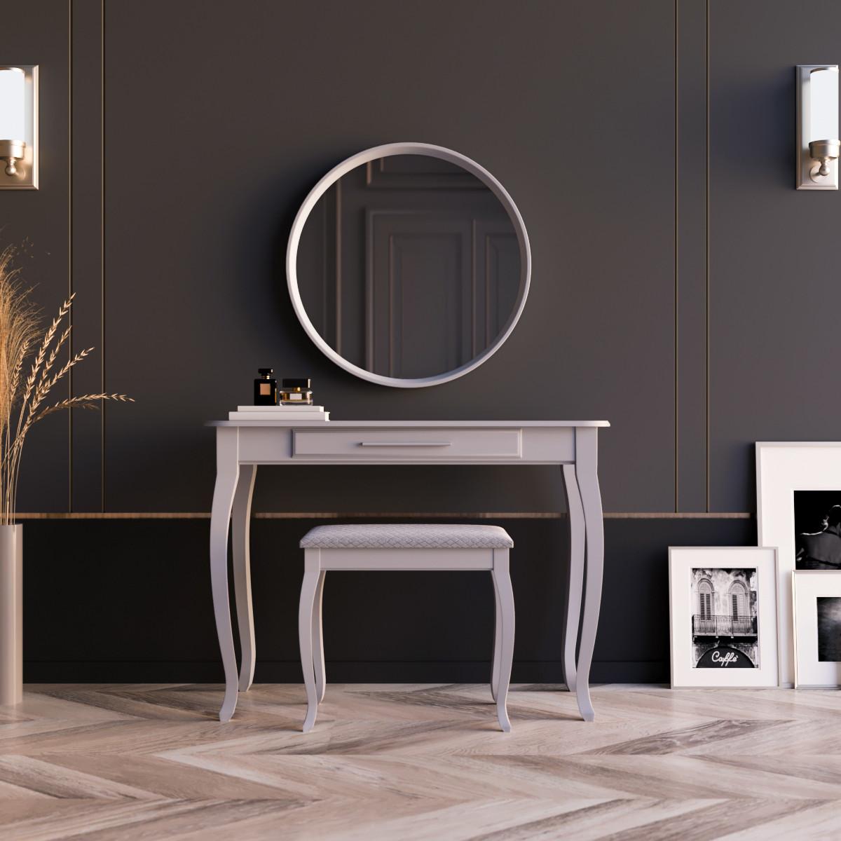 """Туалетный столик с зеркалом и банкеткой """"Болония Светло-серая"""""""
