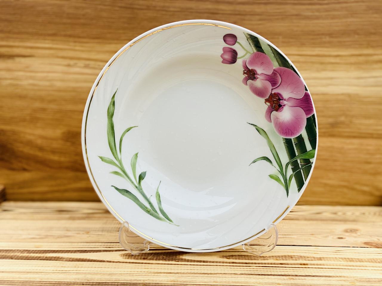 Тарелка 200 мм глубокая голубка Бамбуковая орхидея 5С0845Ф34 Добруш