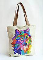 Пошита сумка для вишивки Яскравий вовк