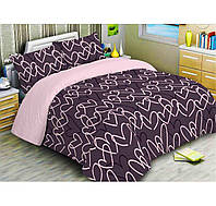 Постель двуспальная Сердечки, комплект постельного белья, Ткань Бязь Голд, 100% Хлопок, цвет бордо