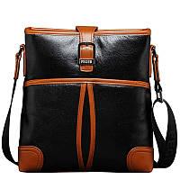 Стильная мужская кожаная сумка на плечо формы планшет черная