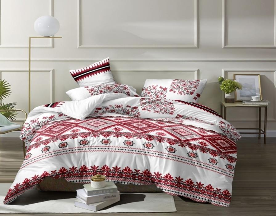 Комплект постельного белья  Бязь GOLD 100% хлопок Вышиванка Бело - красного цвета