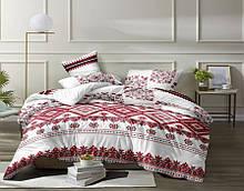 Комплект постільної білизни Бязь GOLD 100% бавовна Вишиванка Біло - червоного кольору