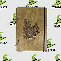 Деревянный блокнот А6 Белочка (мореное дерево), фото 1