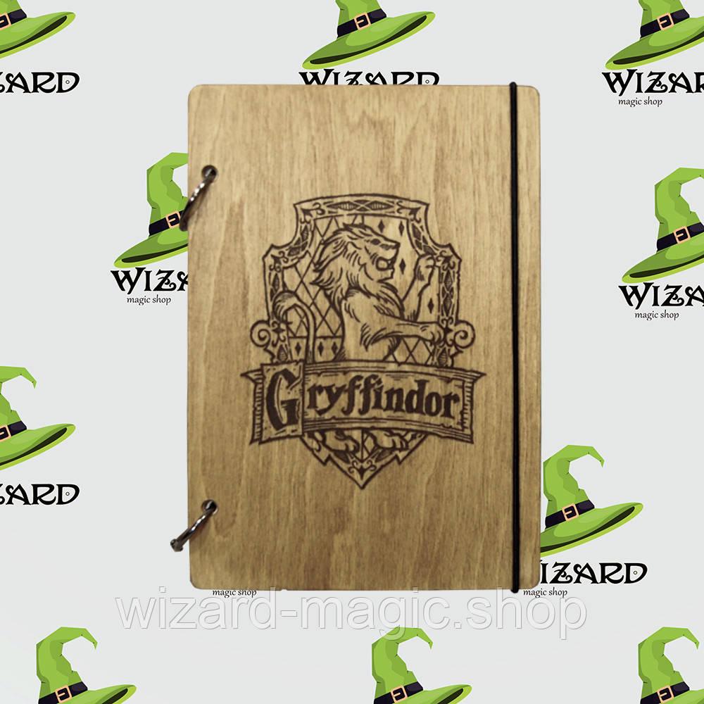 Деревянный блокнот А6 Гарри Поттер Гриффиндор (мореное дерево)