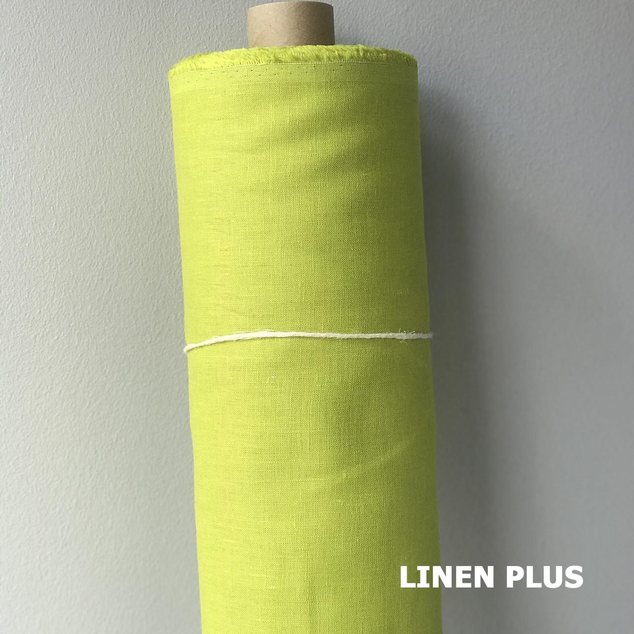 Салатовая льняная ткань 100% лен, цвет 1139