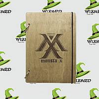Деревянный блокнот А6 Monsta X kpop (мореное дерево), фото 1