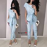 Женский костюм в полоску: блуза с поясом и брюки (в расцветках), фото 5