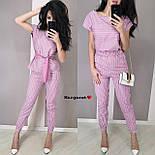 Женский костюм в полоску: блуза с поясом и брюки (в расцветках), фото 3