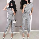 Женский костюм в полоску: блуза с поясом и брюки (в расцветках), фото 4