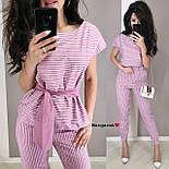 Женский костюм в полоску: блуза с поясом и брюки (в расцветках), фото 6