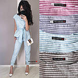 Женский костюм в полоску: блуза с поясом и брюки (в расцветках), фото 10