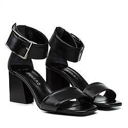 Босоножки женские Guero (черные, кожаные, на удобном каблуке, Турция)