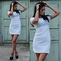 Женское платье-футболка асимметричное белого цвета