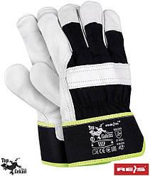 Рукавички робочі укріплені волової шкірою рукавички REIS Польща (шкіряні робочі ) RHIP BW