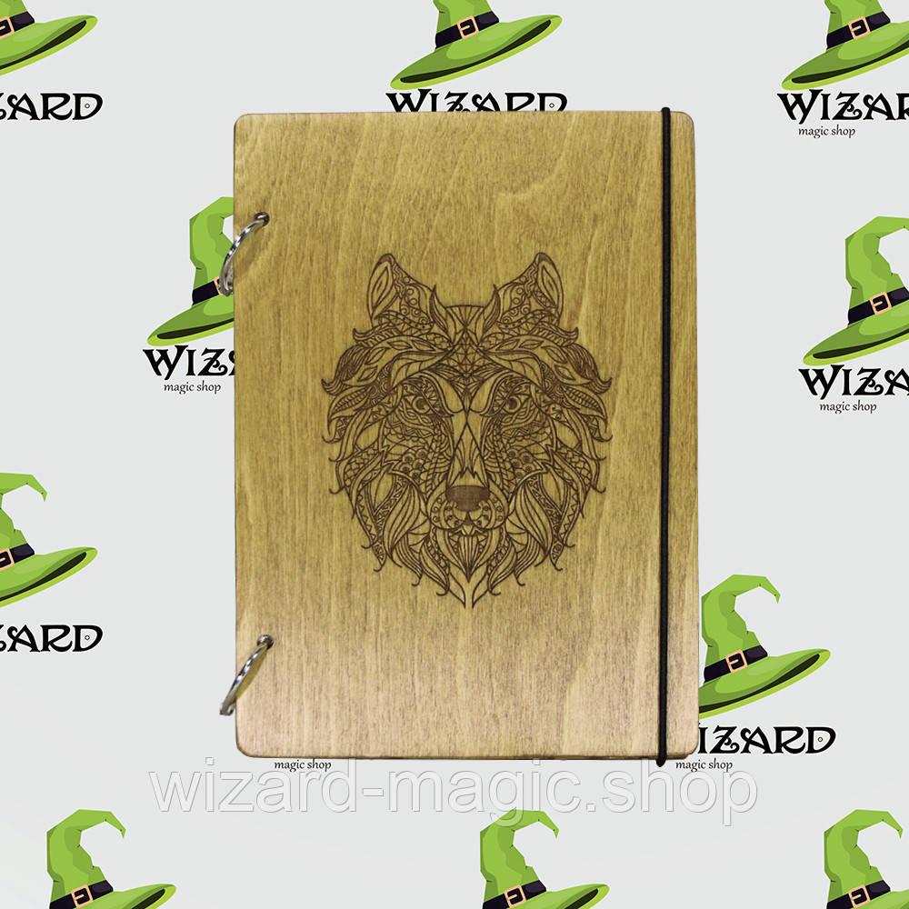 Деревянный блокнот А6 Волк (мореное дерево)