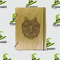 Деревянный блокнот А6 Волк (мореное дерево), фото 1