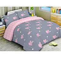 Постельное белье Розовые Сердца, размер евро. Комплект постельного белья. Ткань Бязь 100% Хлопок, цвет серый