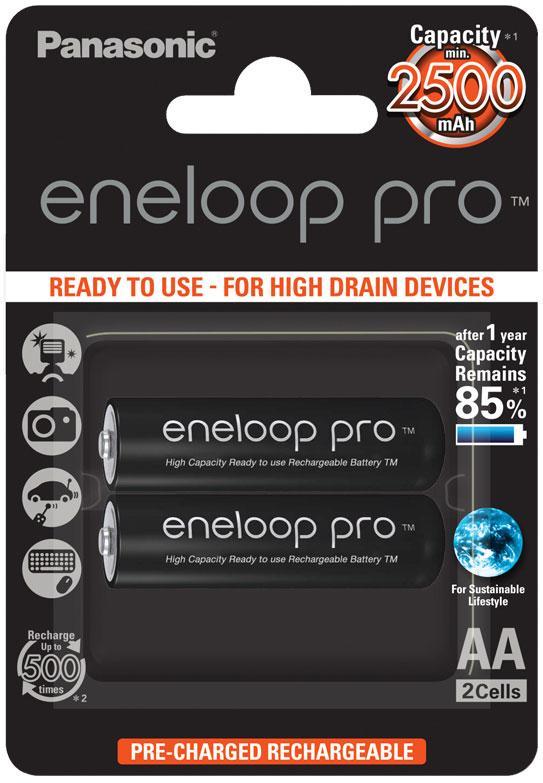 Аккумулятор Panasonic Eneloop Pro BK-3HCDE/2BE, AA/(HR6), 2500mAh, LSD Ni-MH, блистер 2шт