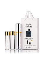 Міні-парфуми з феромонами чоловічий CHANEL Bleu de Chanel 3х15 мл