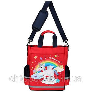 Сумка портфель Senkey&Style, школьный рюкзак через плечо Единорог красный Код 10-6445