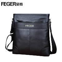 Кожаная брендовая мужская сумка на плечо черная