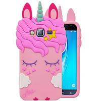 Чехол на Samsung Galaxy J2 J200 2015 3D Единорог розовый, фото 1