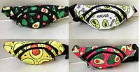 Молодежные сумки-барсетки на пояс 2отд. текстиль (5 принтов АВОКАДО)12*32см