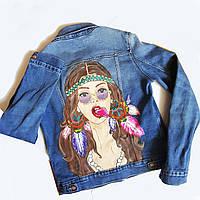 Ручная роспись Вашей джинсовой куртки (жилетки, толстовки) Любой рисунок на заказ, фото 1