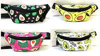 Молодежные сумки-барсетки на пояс текстиль (5 принтов АВОКАДО)14*28см