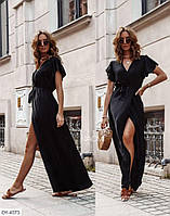 Длинное женское платье в пол с разрезом спереди на ноге арт.  876
