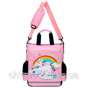 Сумка портфель Senkey&Style, школьный рюкзак через плечо Единорог розовый Код 10-6445