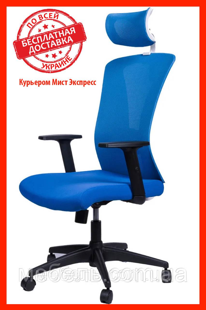 Кресло для работы дома Barsky BM-05 Mesh White/Blue, сеточное кресло, синий / белый