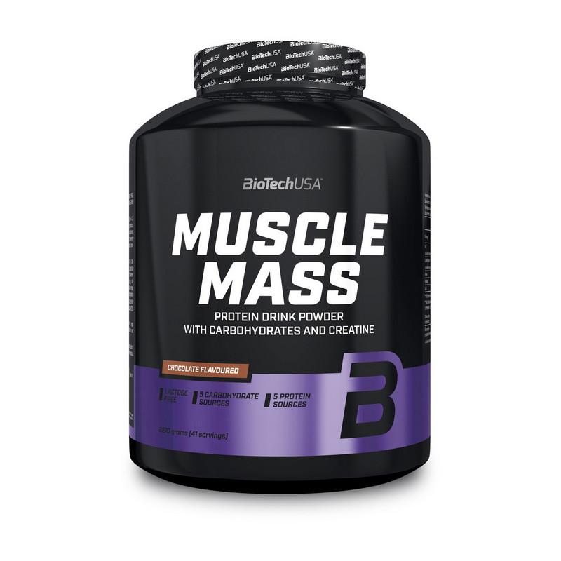 Гейнер для набора массы BioTech Muscle Mass (2270 г) биотеч мускул масс клубника