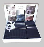 Постельное бельё First Choice Delux Satin Stripe Style Lacivert  (семейка)