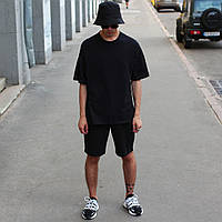 Модний чоловічий річний комплект панама+футболка+шорти однотонний чорний