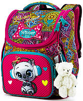 Ортопедический рюкзак (ранец) в школу для девочки Winner One с Котом 34х26х14 см для первоклассницы (2046)