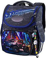 Школьный каркасный рюкзак (ранец) с ортопедической спинкой черный для мальчика Winner One с Машиной 34х26х14