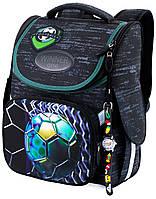 Школьный рюкзак (ранец) с ортопедической спинкой черный для мальчика Winner One с Футболом 34х26х14 см для