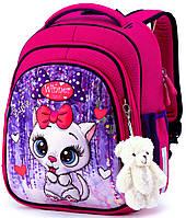 Школьный рюкзак (ранец) с ортопедической спинкой розовый для девочки Winner One с Котом 36х29х14 см для
