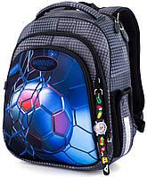 Школьный каркасный рюкзак (ранец) с ортопедической спинкой серый для мальчика Winner One с Футболом 36х29х14 см для начальной школы (5007)