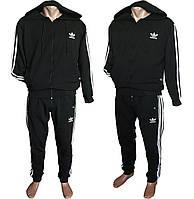"""Мужской спортивный костюм на манжетаж с капюшоном """"Adidas"""" размеры 48-54, черного цвета"""