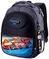 Ортопедический рюкзак (ранец) в школу серый для мальчика Winner One с Машиной 36x29x17 см для первоклассника