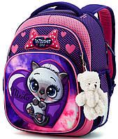 Школьный рюкзак (ранец) с ортопедической спинкой фиолетовый для девочки Winner One с Котом 36х29х16 см в 1